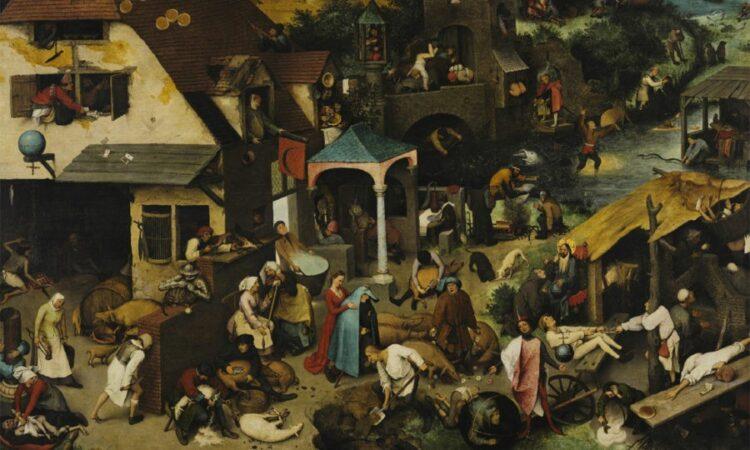 Uma vida confusa. Detalhe dos Provérbios Holandeses (1559) de Pieter Bruegel, o Ancião. Imagem cortesia Gemäldegalerie, Berlim.