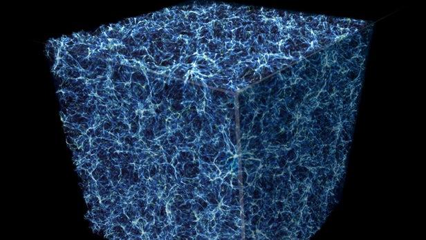 """Esta imagem simulada mostra uma fatia cúbica da estrutura da """"teia cósmica"""" que permeia o cosmos, com o azul e o branco representando galáxias e as seções mais escuras representando vazios com muito pouca matéria. Crédito: NASA, ESA, e E. Hallman (Universidade do Colorado, Boulder)"""