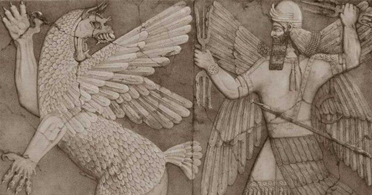 Monstro do caos e o deus do sol sumérios. Imagem: Wikipedia