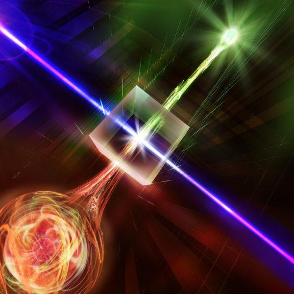 Em um cristal não linear iluminado por um laser forte, o comprimento de onda do fóton é convertido no valor ideal para viagens de longa distância. (Crédito: IQOQI Innsbruck / Harald Ritsch)
