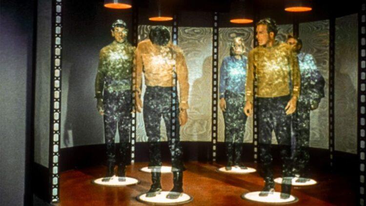 Cena de teletransporte em Star Trek.