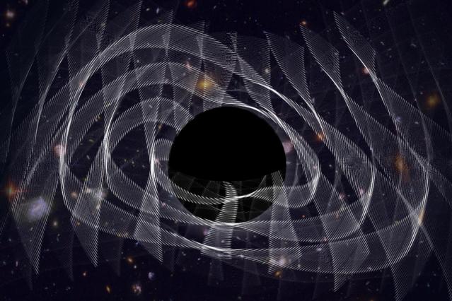 Cientistas ouvem o 'barulho' de um buraco negro recém-nascido pela primeira vez, na forma de ondas gravitacionais, representado na ilustração deste artista. (Imagem: MIT)
