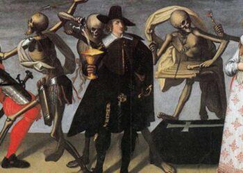 Pintura do século XVI ou XVII da 'Dança da Morte'. Os vivos nem sempre tinham medo dos mortos. (Imagem: Domínio Público)
