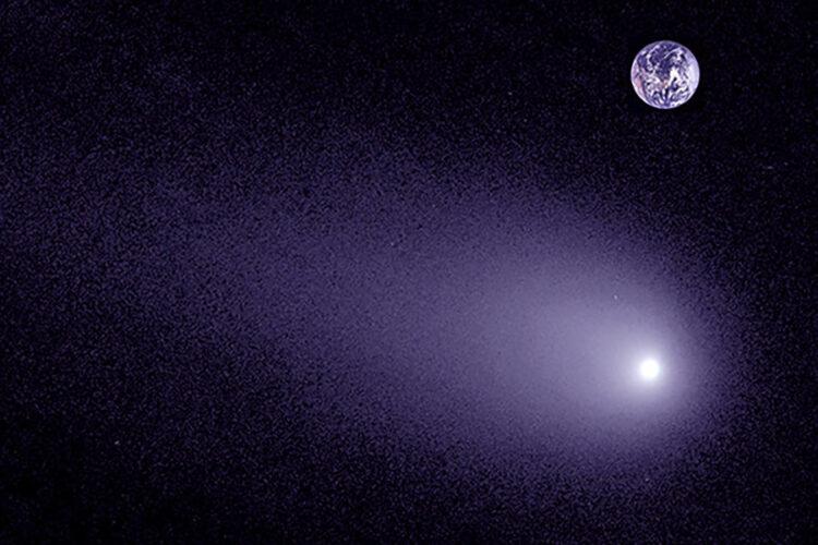 Uma comparação entre o cometa interestelar e a Terra. (Imagem: Pieter van Dokkum, Cheng-Han Hsieh, Shany Danieli, Gregory Laughlin)
