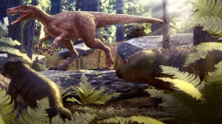 Ilustração do Gnathovorax cabreirai em vida junto com rincossauros, em recriação gráfica do paleoartista Márcio Castro