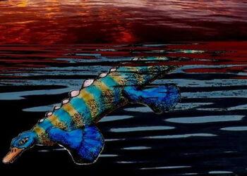 Eretmorhipis carrolldongi tinha um corpo longo e rígido, uma cabeça pequena, olhos minúsculos e quatro nadadeiras para nadar e dirigir. (Crédito da imagem: Gianluca Danini.)
