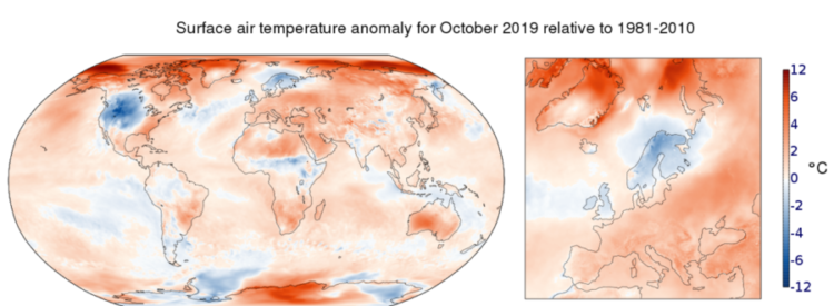 Anomalia na temperatura do ar da superfície em outubro de 2019 em relação à média de outubro para o período 1981-2010. Fonte de dados: ERA5. Crédito: Copernicus Climate Change Service / ECMWF.