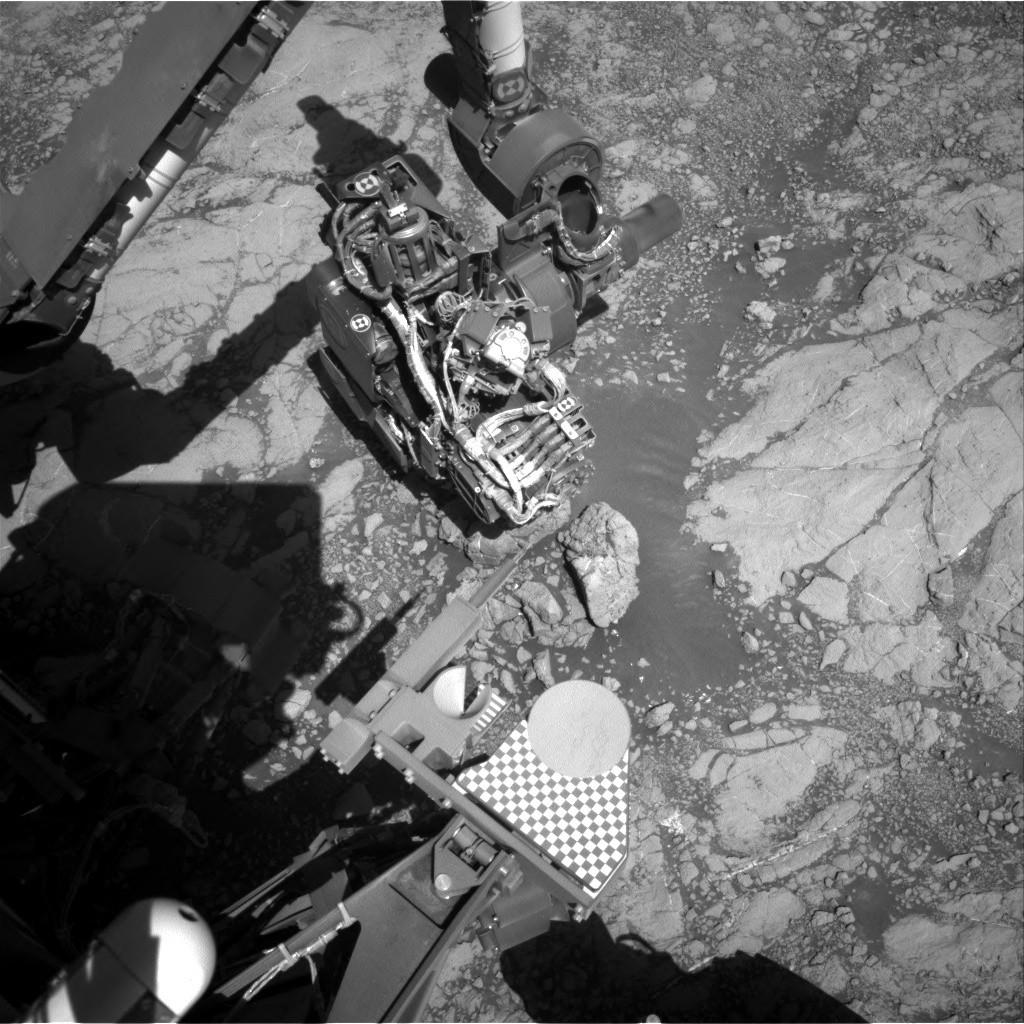 Imagem do braço do veículo espacial Curiosity fotografado neste fim de semana. (Crédito da imagem: NASA / JPL-Caltech)