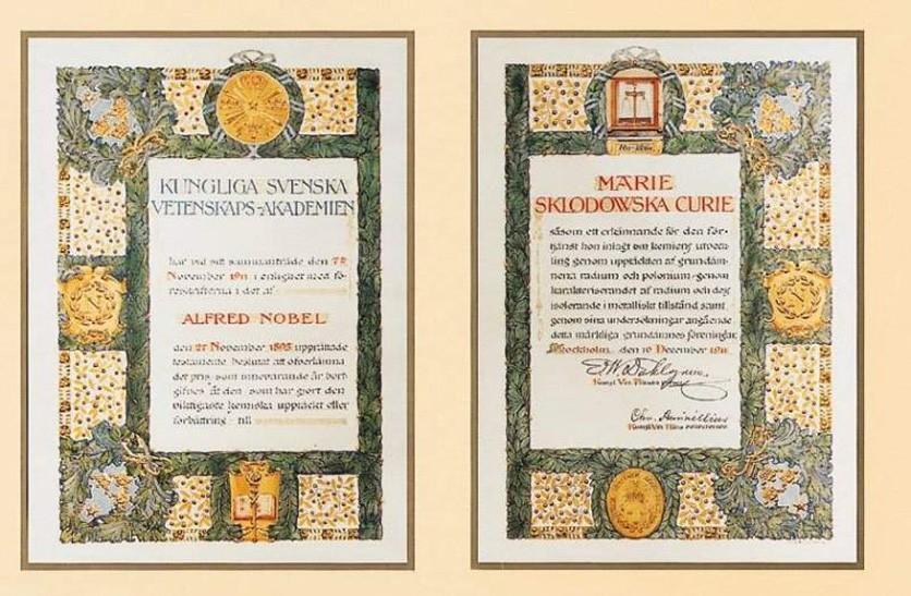O diploma do Nobel de Física de 1903 de Marie Curie. (Por Nobel Foundation, Domínio público)