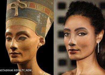 Imagem: Nefertiti recriada com um ar mais contemporâneo pela artista Becca Saladin. (Reprodução Instagram / @royalty_now_)