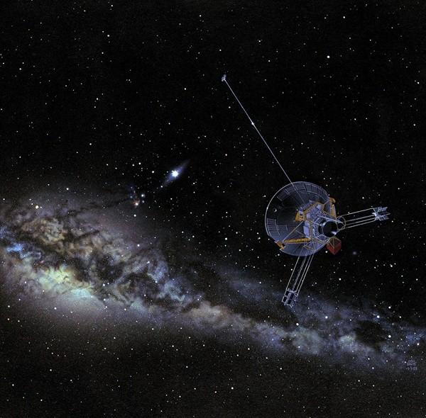 Uma representação artística da espaçonave Pioneer nos confins do espaço. (Imagem: NASA)