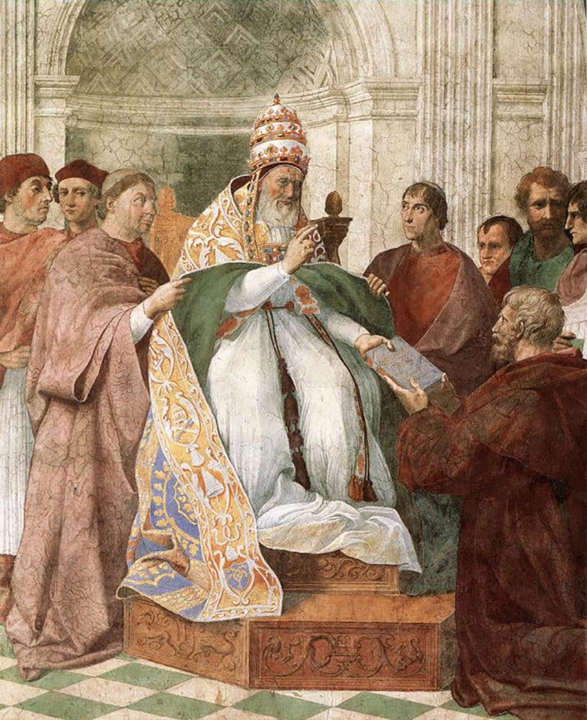 Gregório IX, pintura de Rafael na Stanza della Segnatura, no Vaticano.
