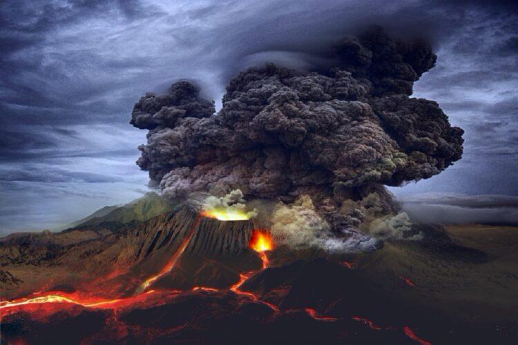 Representação de um vulcão em erupção para mostrar como poderia ter sido a erupção em Budj Bim. (Imagem: SiriusRzn/Adobe Stock)