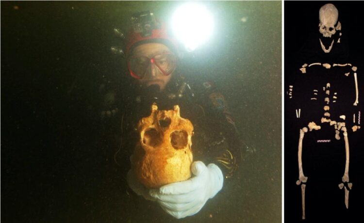 À direita: Mergulhadores descobriram os restos da mulher antiga na caverna do cenote de Chan Hol, perto de Tulum, México. Esquerda: Pedaços de esqueleto juntos. (Imagem: Eugenio Acevez e Jerónimo Avilés Olguín / Universidade de Heidelberg)