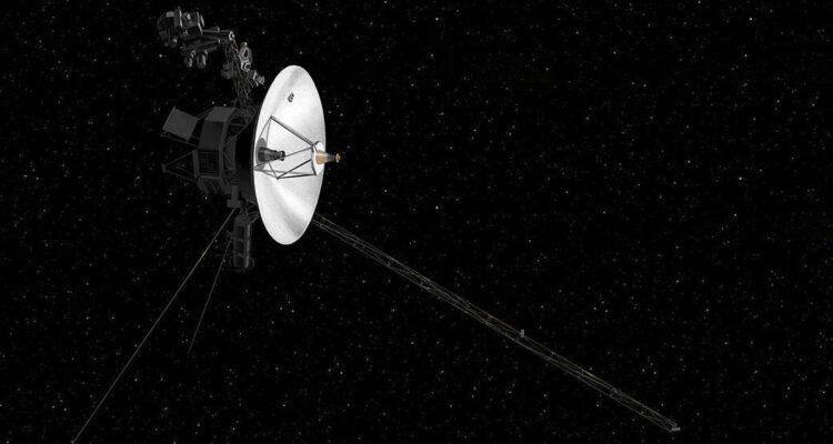 O conceito de um artista da nave espacial Voyager 2 da NASA. Crédito: NASA