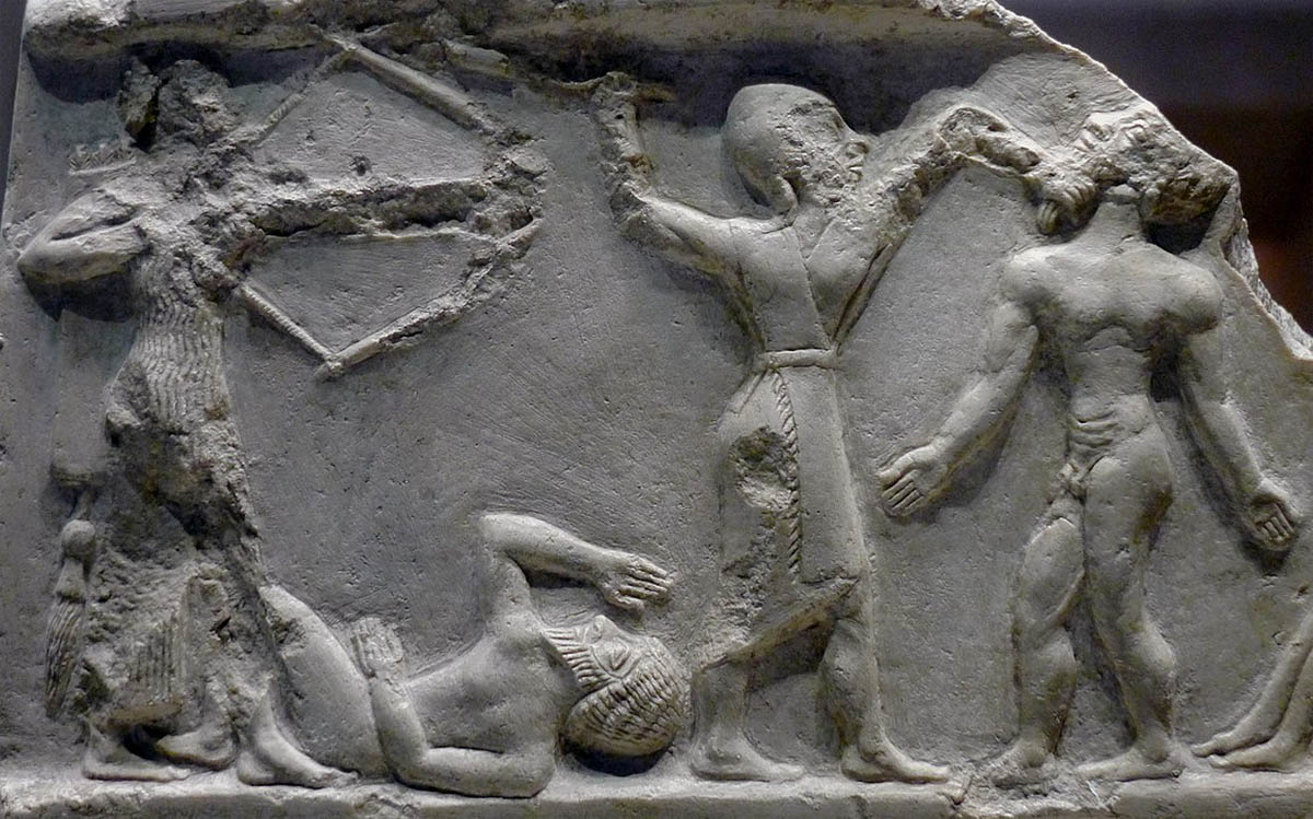 Soldados acadianos matando inimigos, por volta de 2 300 a.C. (Imagem: Domínio Público).