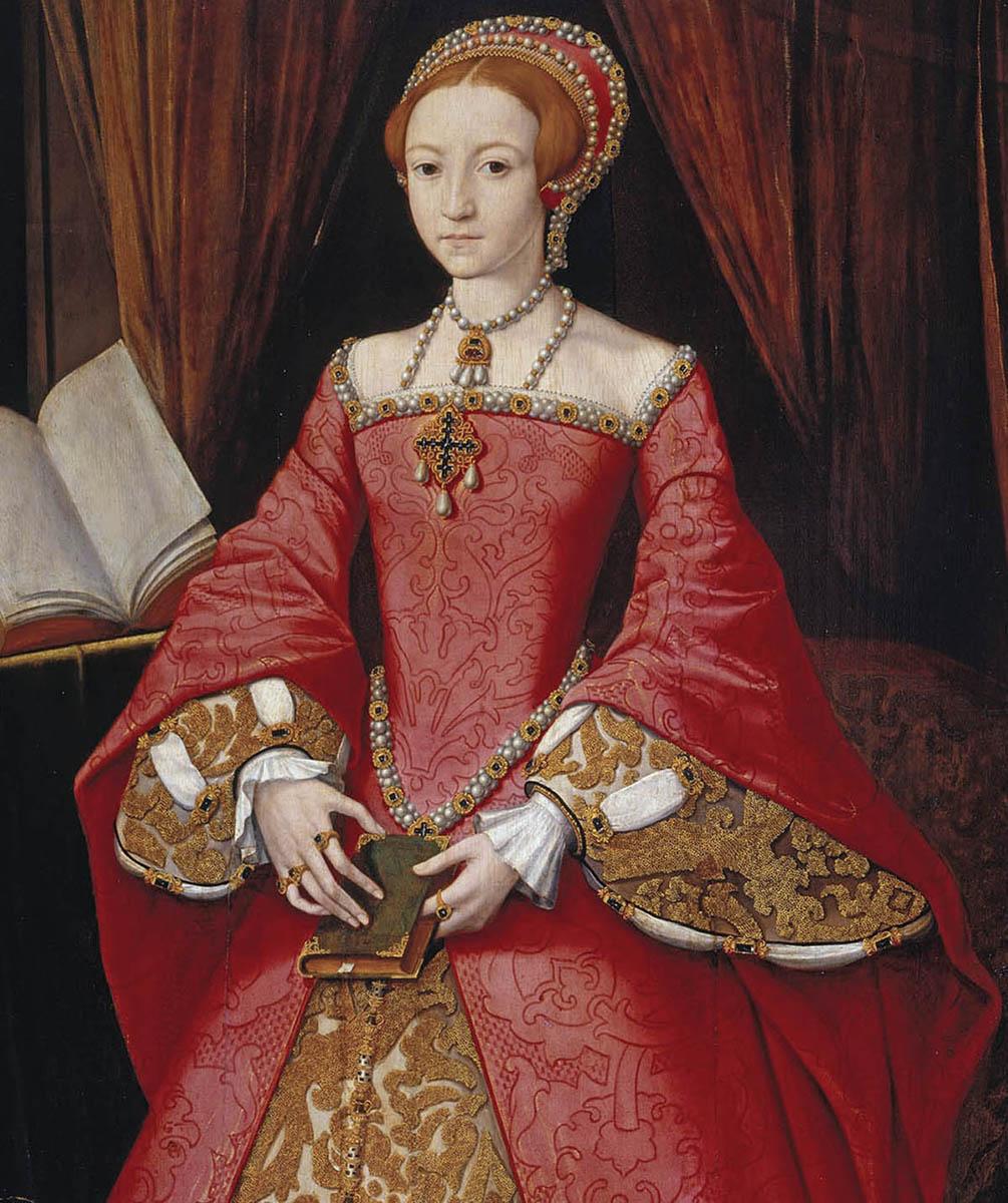 Princesa Elizabeth Tudor, a futura Elizabeth I, de William Scrots (1546). Maria, apesar das consideráveis diferenças ideológicas com a irmã, a respeitava e a nomeava como sucessora do trono.