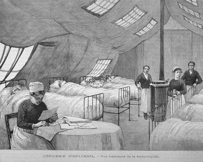 Gravura em madeira mostrando enfermeiros que atendem pacientes em Paris durante a pandemia de gripe de 1889-90. A pandemia matou cerca de 1 milhão de pessoas.   (Crédito da imagem: Shutterstock)