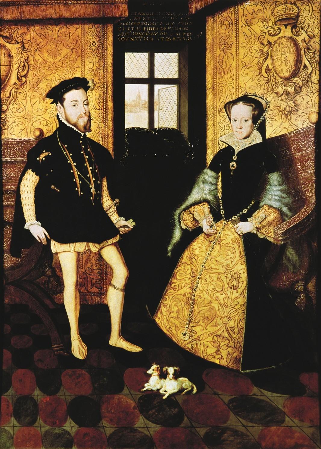 Retrato de Maria I, da Inglaterra --que ficou conhecida como Maria Sangrenta -- e seu marido Filipe II da Espanha. O casal viveu sozinho por cerca de 15 meses. Hans Eworth. (Wikimedia Commons)
