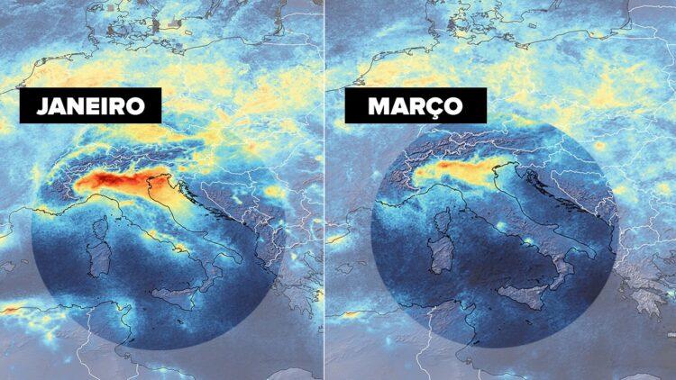 Imagens de satélites da redução da poluição do ar na Itália durante a crise do Coronavírus.