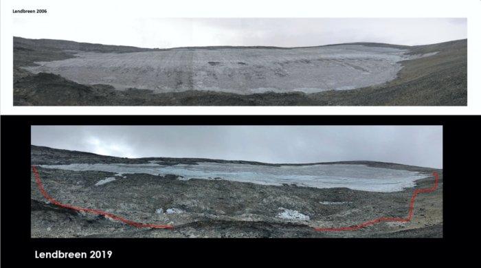 O local onde foram encontrados os artefatos de estrada viking fotografado em 2007 (logo acima) e em 2019, (imagem abaixo).  (Créditos: Espen Finstad / secretsoftheice.com)