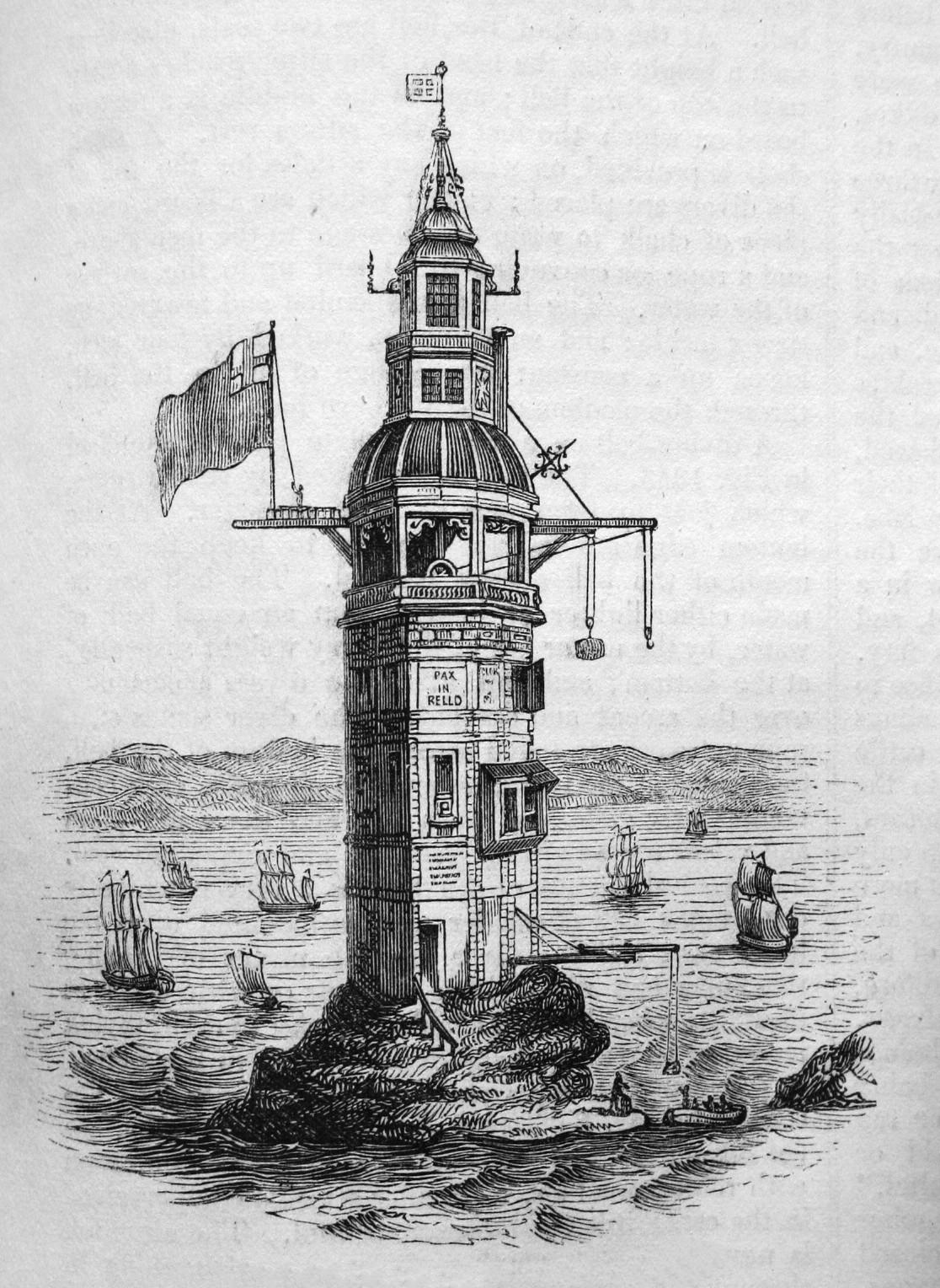 Farol de Winstanley, que foi levado juntamente com seu criador por um furacão.