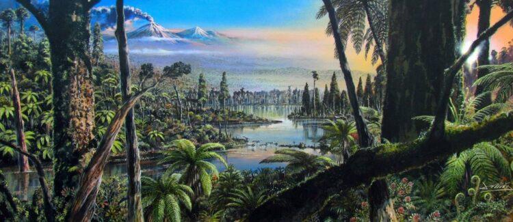 Reconstrução da floresta tropical pré-histórica descoberta na Antártica Ocidental Turoniano-Santoniana. A pintura é baseada em informações paleoflorais e ambientais inferidas a partir de dados de biomarcadores palinológicos, geoquímicos, sedimentológicos e orgânicos obtidos dos núcleos 9R e 10R no local PS104_20-2. T (Fonte: Alfred-Wegener-Institut / J. McKay / CC BY 4.0)