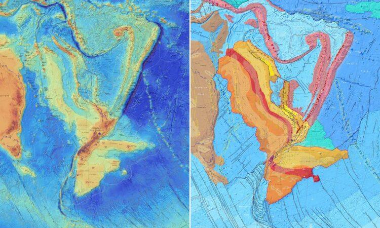 Mapa batimétrico do continente perdido. (Imagem: GNS Science)