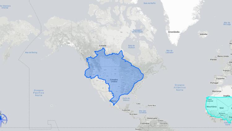Brasil em comparação com os Estados Unidos. (Imagem: The True Size)