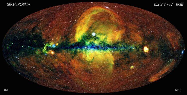 Mapa do céu em raios-x. (Créditos da imagem: eROSITA / Instituto Max Planck)