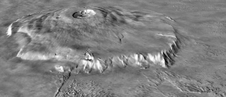 Monte Olimpo, em Marte, o maior vulcão do sistema solar. (Créditos da imagem: NASA)
