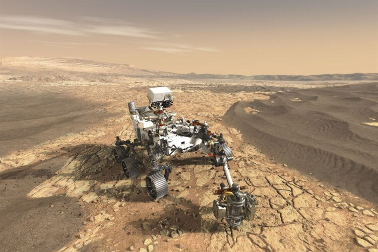 Concepção artística de Perseverance em Marte. (NASA / JPL-Caltech)