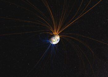 As linhas imaginárias do campo magnético da Terra. (Imagem: NASA)