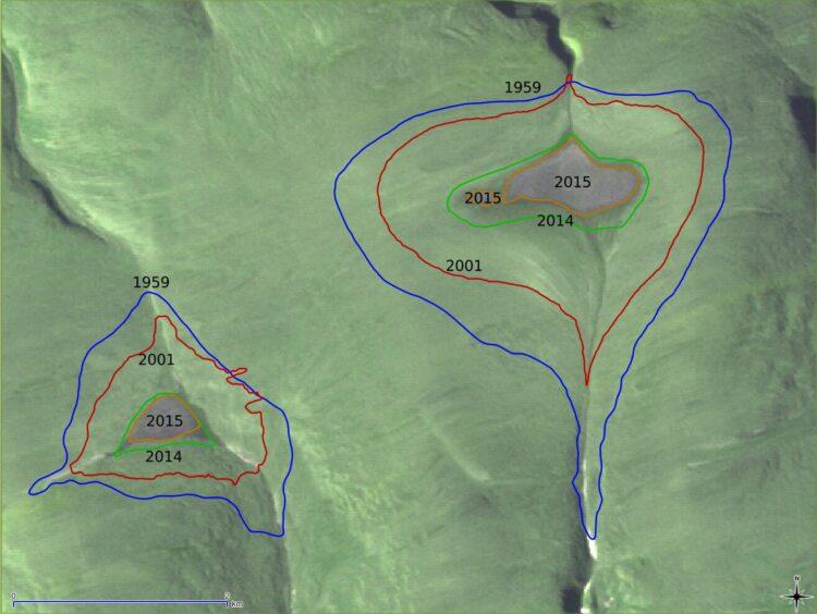 Derretimento das calotas polares St. Patrick Bay, no Canadá, ao longo dos anos. (Créditos da imagem: Bruce Raup, NSIDC).