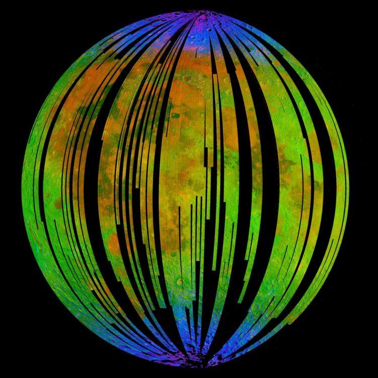 A hematita está localizada nas regiões azuis. (Créditos da imagem: ISRO / NASA / JPL-Caltech / Brown University / USGS).
