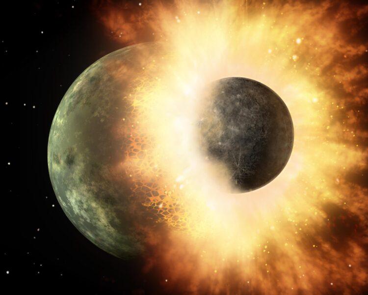 Concepção artística da formação da Lua. (Créditos da imagem NASA/JPL-Caltech).