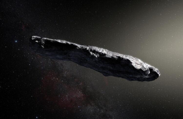 Representação artística do Oumuamua. (Créditos da imagem: ESO/M. Kornmesser).