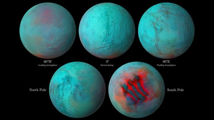 Imagens em infravermelho de Encélado. (Créditos da imagem: NASA/JPL-Caltech/University of Arizona/LPG/CNRS/University of Nantes/Space Science Institute).
