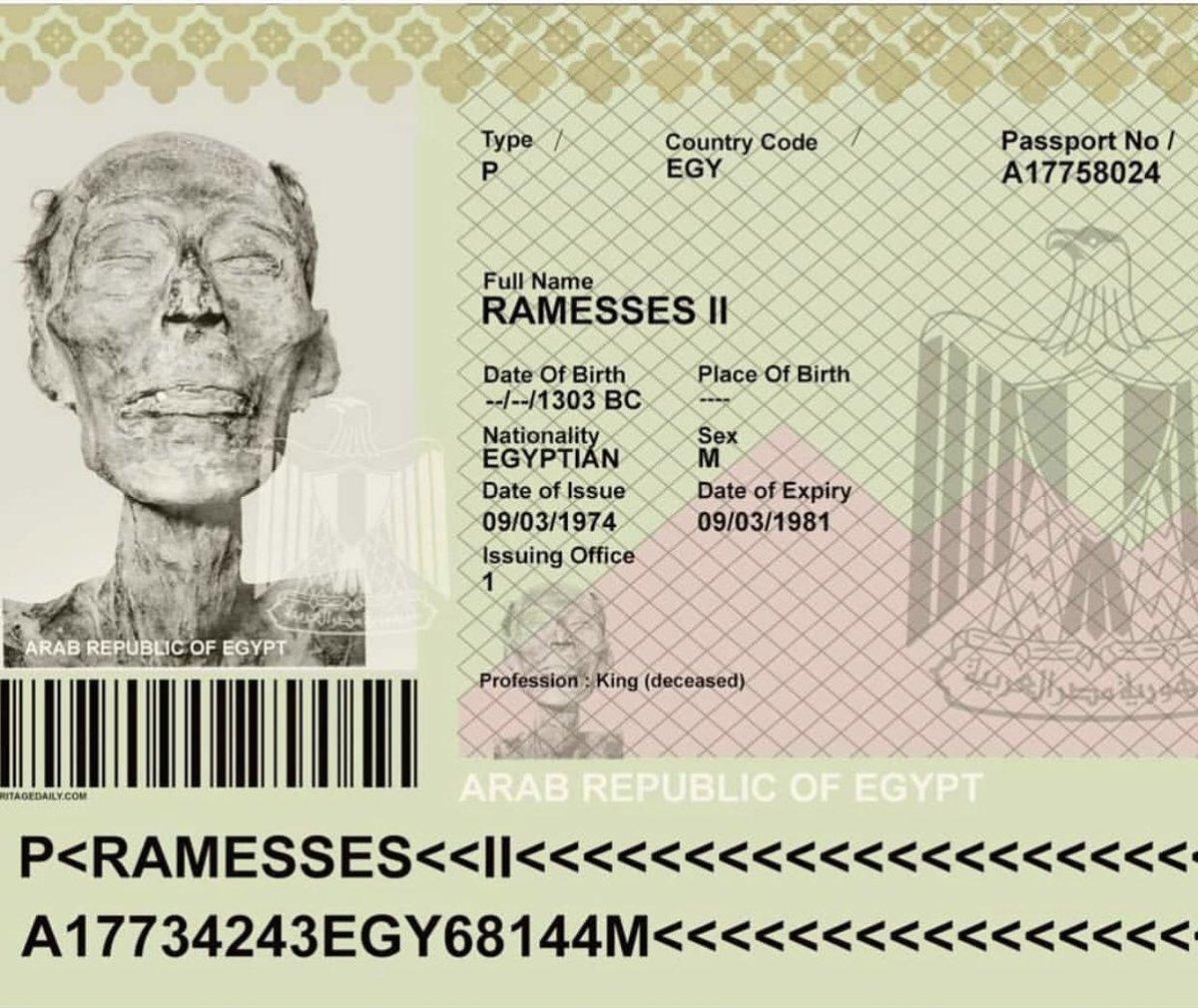 Passaporte da múmia de Ramsés