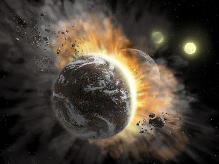 Concepção artística de uma colisão planetária. (Créditos da imagem: NASA/SOFIA/Lynette Cook ).