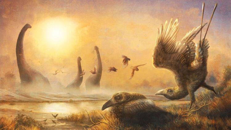 Cientistas descobriram em 2010 o fóssil de um pássaro diferente de tudo que era conhecido até agora. Image: (© Mark Witton)
