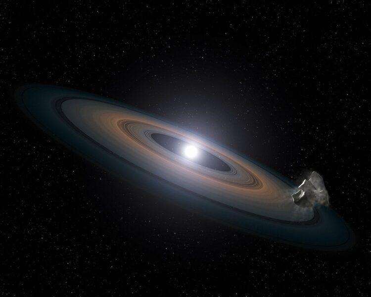 Concepção artística de uma anã branca, o futuro  do Sol. (NASA, ESA, STScI, and G. Bacon (STScI)).