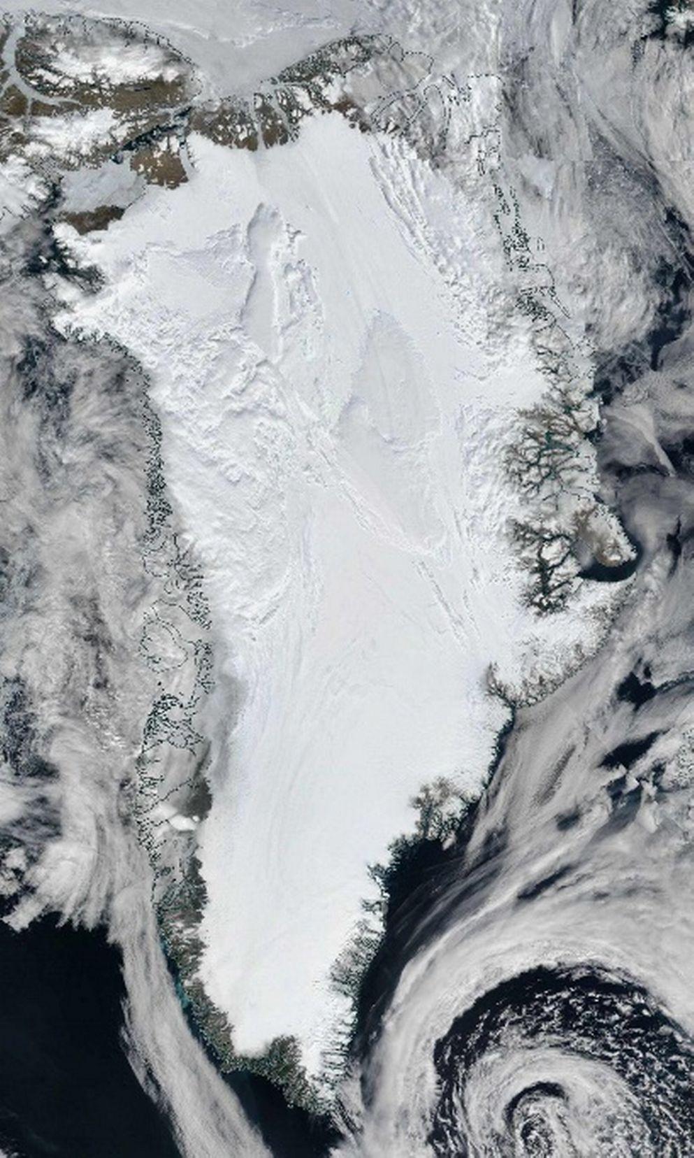 imagem de satélite da Groenlândia
