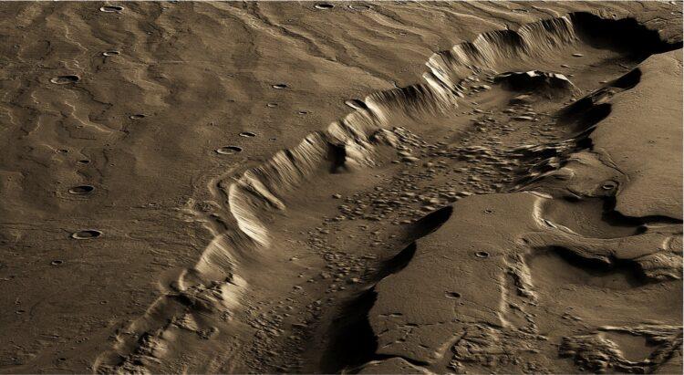 Canal de água em Marte. (ESA / DLR / FU Berlin / Lujendra Ojha).