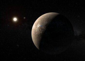 Concepção artística de Proxima Centauri b, uma dos planetas que orbitam a estrela. (ESO/M. Kornmesser)