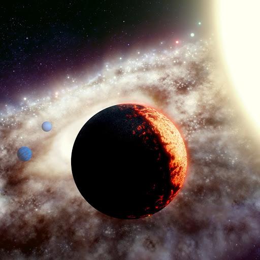 Uma representação artística do sistema planetário TOI-561. (Observatório Adam Makarenko/WM Keck)