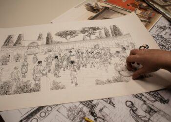 Esboços de uma das ilustrações que integrarão o museu. (Nadia Shira Cohen / The New York Times).