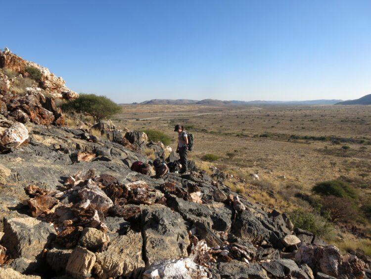 Pesquisadores realizando trabalho de campo na Namíbia. (Rachel Wood)