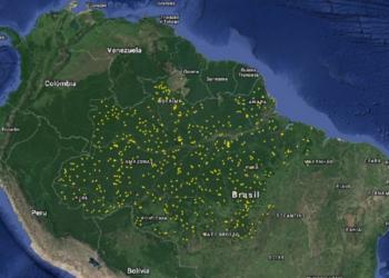 Pesquisadores apontam que estresse hídrico, fertilidade do solo e degradação da vegetação causam clareiras na maior floresta tropical do mundo (distribuição dos sobrevoos de escaneamento a laser sobre a Amazônia brasileira. Cada linha de voo tem cerca de 12 x 0.5 km.) (Ricardo Dal'Agnol/Inpe)