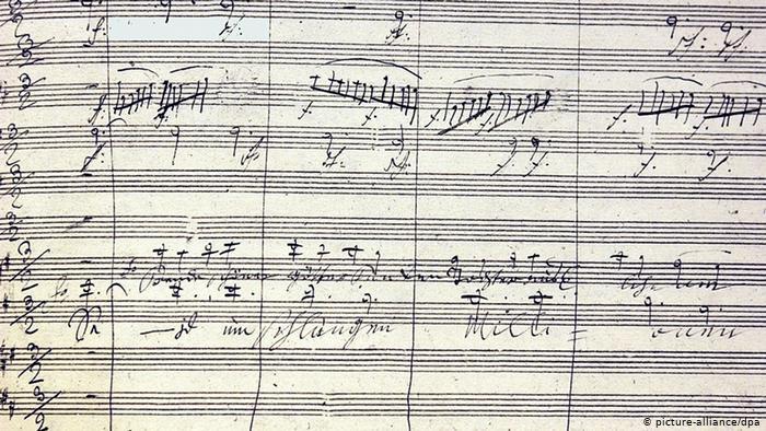 Partitura da Nona de Beethoven.